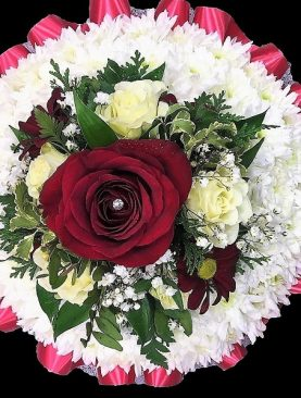 Funeral Based Posy with Red Cluster