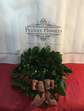 Holly Wreath with Tartan Bow