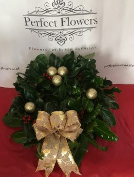 Holly Wreath with Gold Bow and Baubles