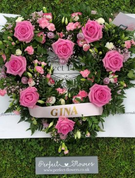 Funeral Loose Open Pink Rose Heart